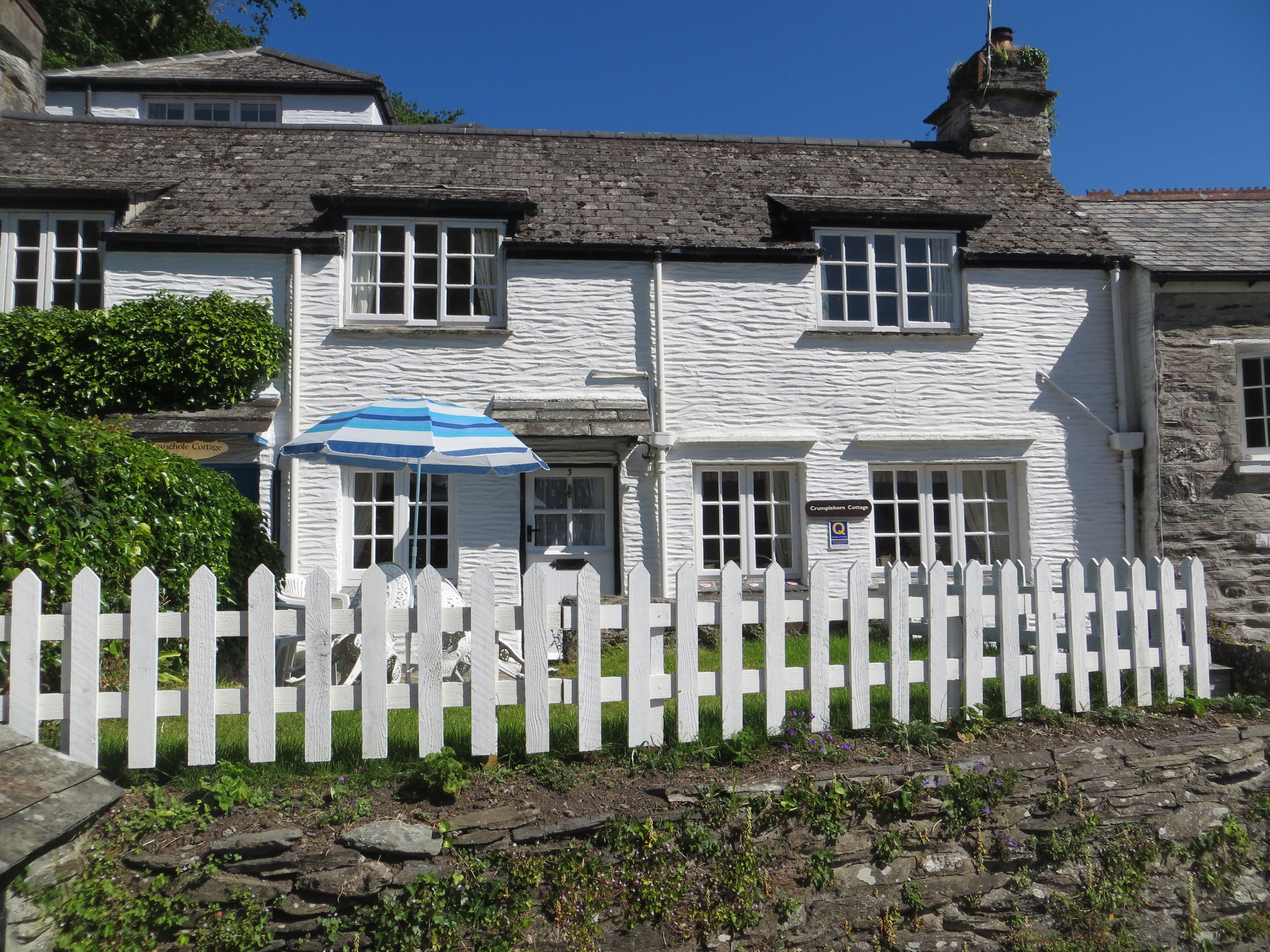 shrubs rosemundy rear large garden lawn holiday in and mature cornwall england with cottages enclosed villa
