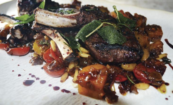 Grilled Porcini, Rubbed Venison with Crown Prince Squash Caponata
