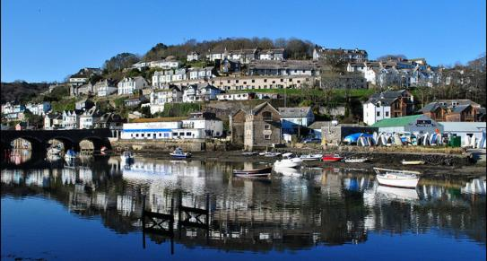 View of the town in Looe, South East Cornwall