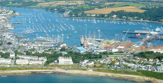 Aerial view of Tall Ships in Falmouth 2014 by Devon & Cornwall Police