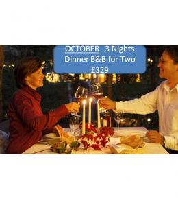OCTOBER 3 nights dinner bed and breakfast for two at £329