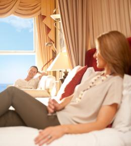 Couple relaxing in luxury Carlyon Bay Hotel room