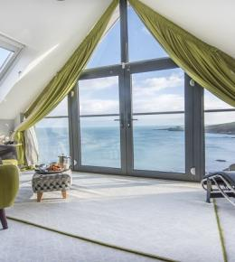 View From Long Liner Bedroom Out To Sea, Pebble House, Mevagissey, Cornwall