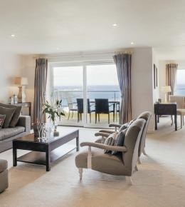 Living area of a penthouse at Hawkes Point in Carbis Bay.