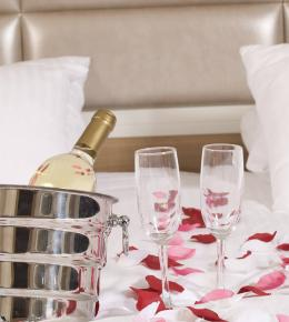 champagne and rose petals
