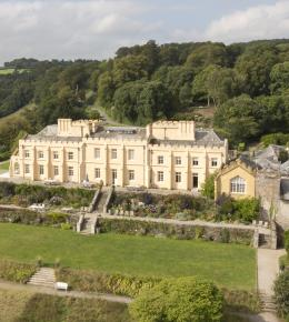 Aerial view of Pentillie Castle and surrounding grounds