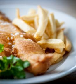 Fish and chips for £9.95 at Rick Stein's Fish, Falmouth