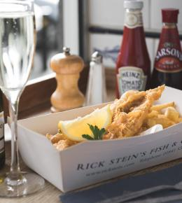 Fizz and chips for £11.95 at Rick Stein, Falmouth