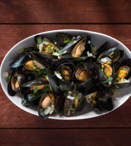 Moules frites and a glass of Le Tuffeau for £14.95