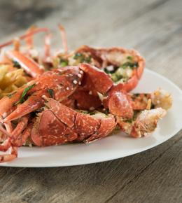 Cornish lobster with chips for £29.95 in Falmouth