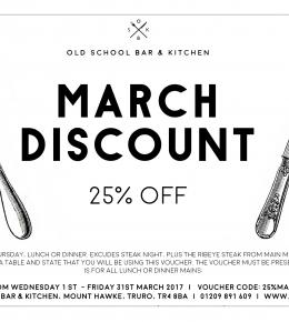 25% off main courses throughout March 2017