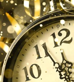 Clock on New Years Eve