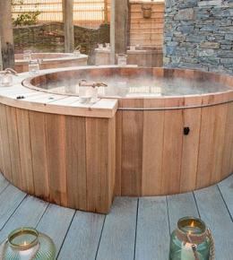 Hot Tub in the Sensory Spa Garden at Bedruthan Hotel and Spa Cornwall