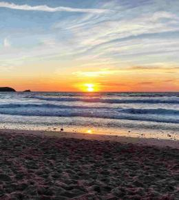 Sunset at Fistral Beach in North Cornwall