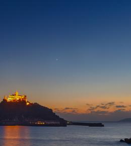 St Michael's Mount at sunset from the Godolphin Arms