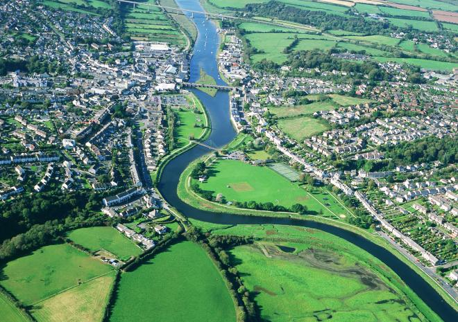Aerial view of Wadebridge Cornwall c John Such