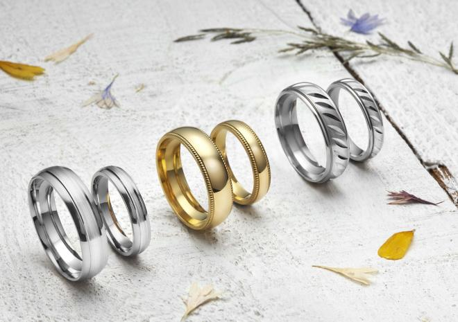 Wedding bands made using Tolgus Tin