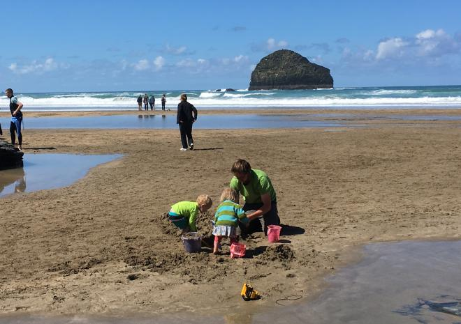 Fun at our local beach Trebarwith  sea, sand, pub food, toilets, parking,