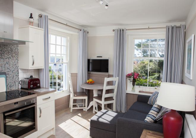 The lovely light filled living space of fabulous Oyster Catcher apartment on the first floor