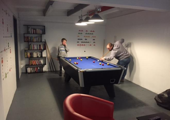 Playing pool in our Games Room at Little Trevothan