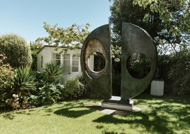 Explore the work of Barbara Hepworth in the sculpture garden