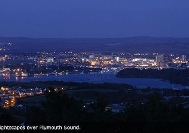 Plymouth at night from the Fort