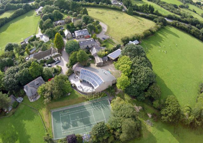 Bosinver Farm Holiday Cottages aerial view St Austell Cornwall
