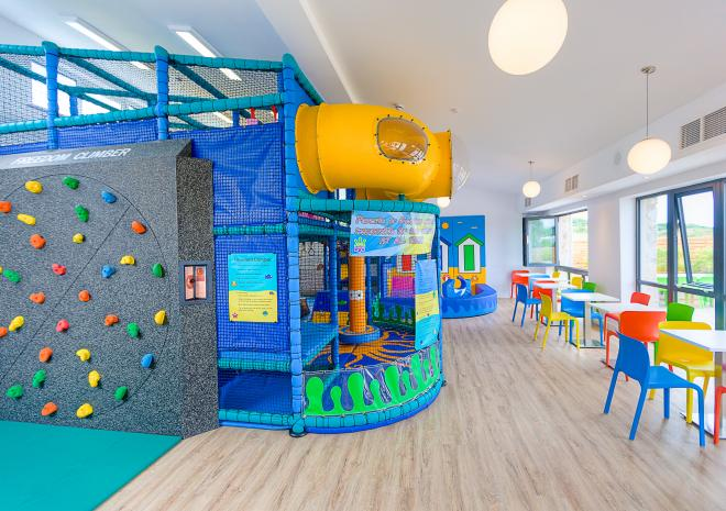 Indoor Soft Play area and climbing wall that rotates