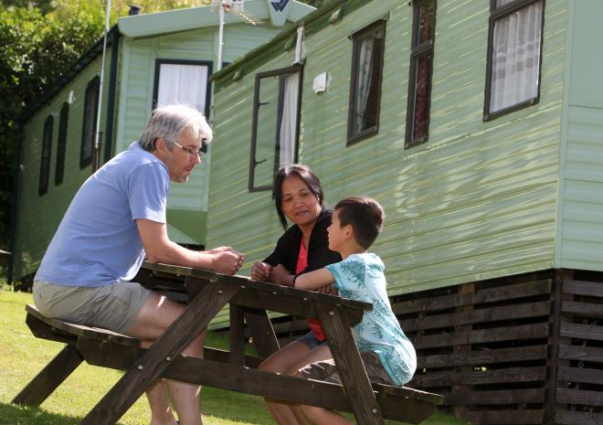 Self catering holiday caravans set in small groups