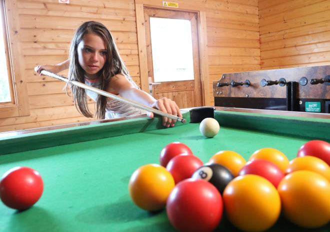 Games room with pool, football table and TV