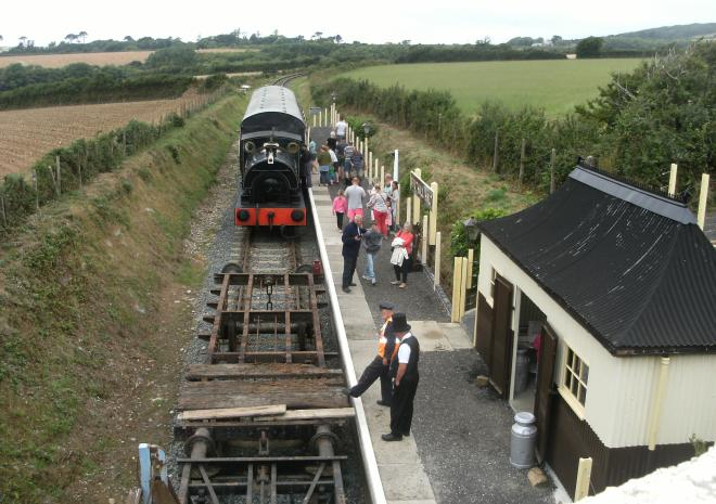 Arrival at our award winning re-creation of Truthall Halt