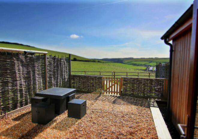 Eco Cottages outlook at Merlin Farm Cornwall