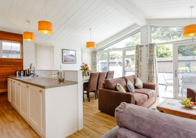 open plan self catering lodge diner-lounge-kitchen