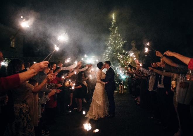 Christmas Wedding with sparklers at Pentillie Castle, Freckle Photography