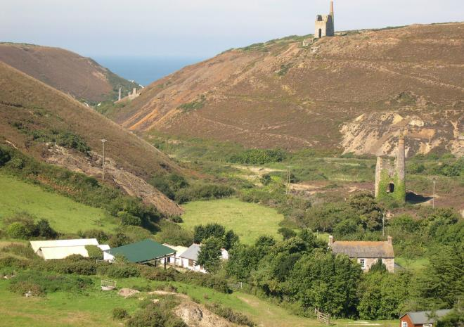 Old Basset Cottage offers lovely self-catering holiday accommodation near Porthtowan in North Cornwall - The view down the valley towards Porthtowan beach