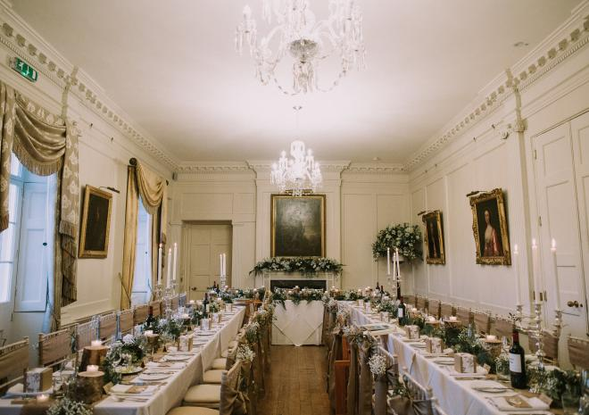 Wedding Breakfast in the Dining Room at Pentillie Castle, Freckle Photograph