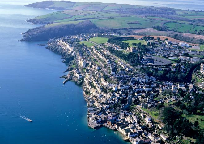 Aerial view of Fowey Cornwall c John Such