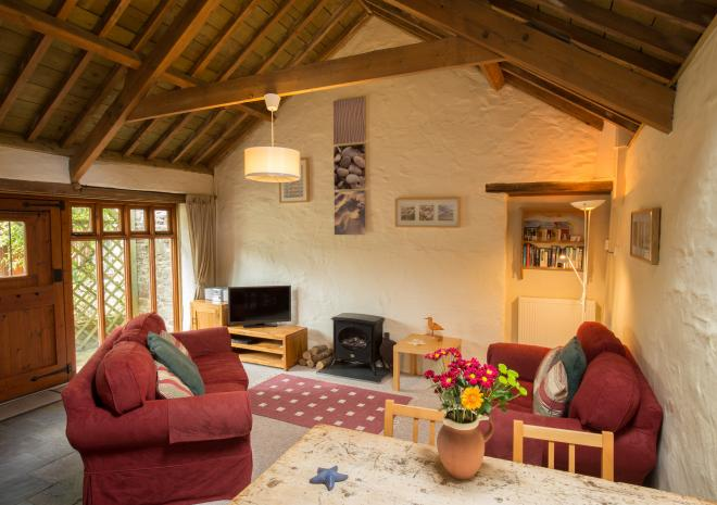 Interior view of Parlour barn conversion, West Woolley Farm