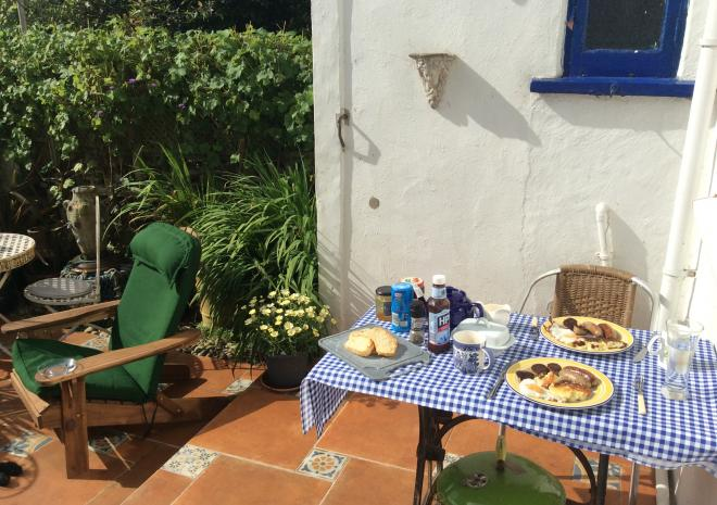 Alfresco Dining in the secure sunny garden