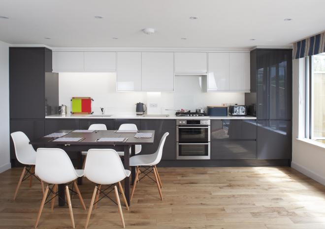 Open plan dining with modern appliances