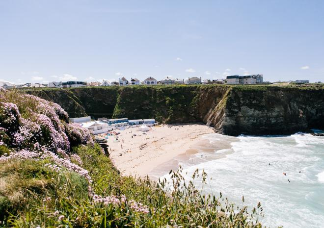 Beaches in Newquay Cornwall , Lusty Glaze Beach