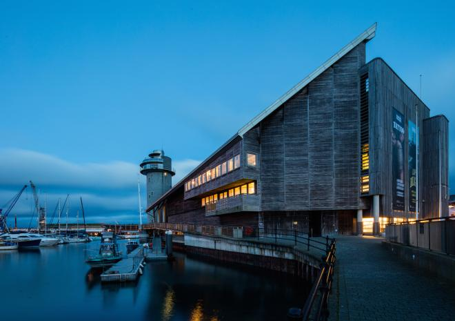National Maritime Museum Cornwall on Discovery Quay Falmouth at dusk