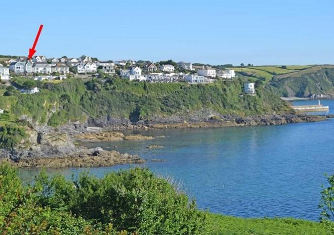 Looking back to Pebble House from the SW Coastal Path, Mevagissey, Cornwall