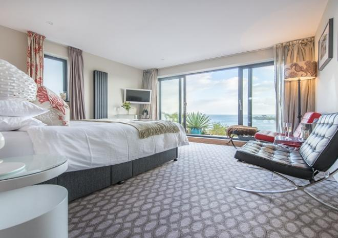 Scalloper Bedroom on Ground Floor With Jaw Dropping Views at Pebble House, Mevagissey, Cornwall
