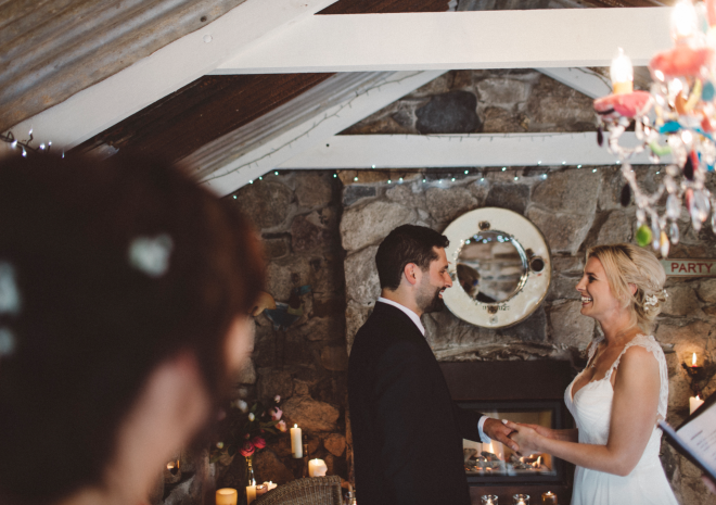 Elopement wedding in The Shack, Lower Barns Boutique B&B