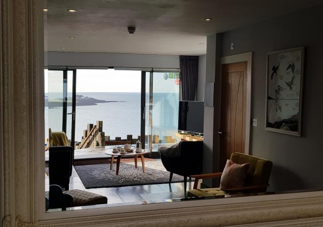 Art Image Of The Lounge Looking Through A Mirror At Pebble House, Mevagissey, Cornwall