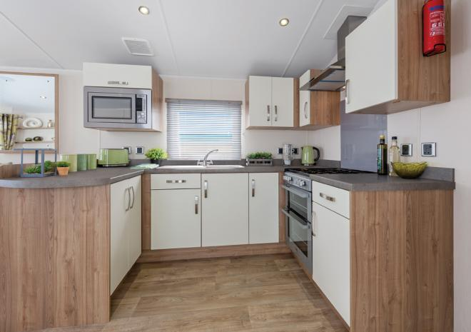 Trelawne Manor Holiday Park, Kitchen, Self catering accommodation, Looe, Cornwall