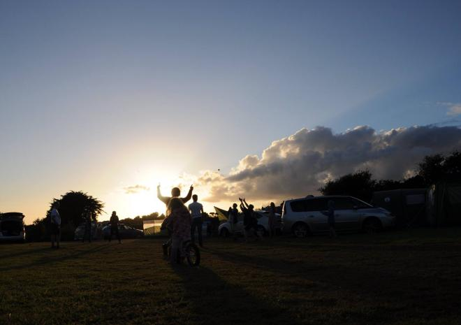 Tre-Morvu, Camping site, Accommodation, West Cornwall, sunset