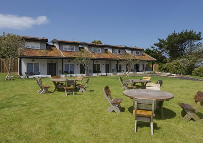 Panoramic view of the 1 bedroom self catering villas at Porth, near Newquay