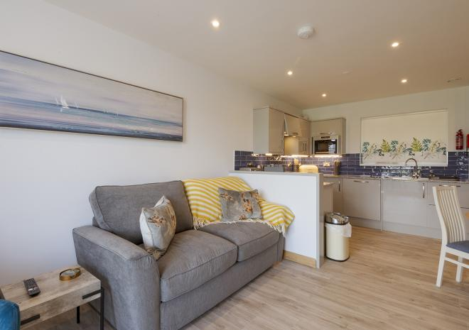 Lounge and kitchen at Porth Veor 1-bedroom self-catering villas